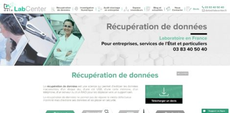 Capture d'écran du site Data LabCenter