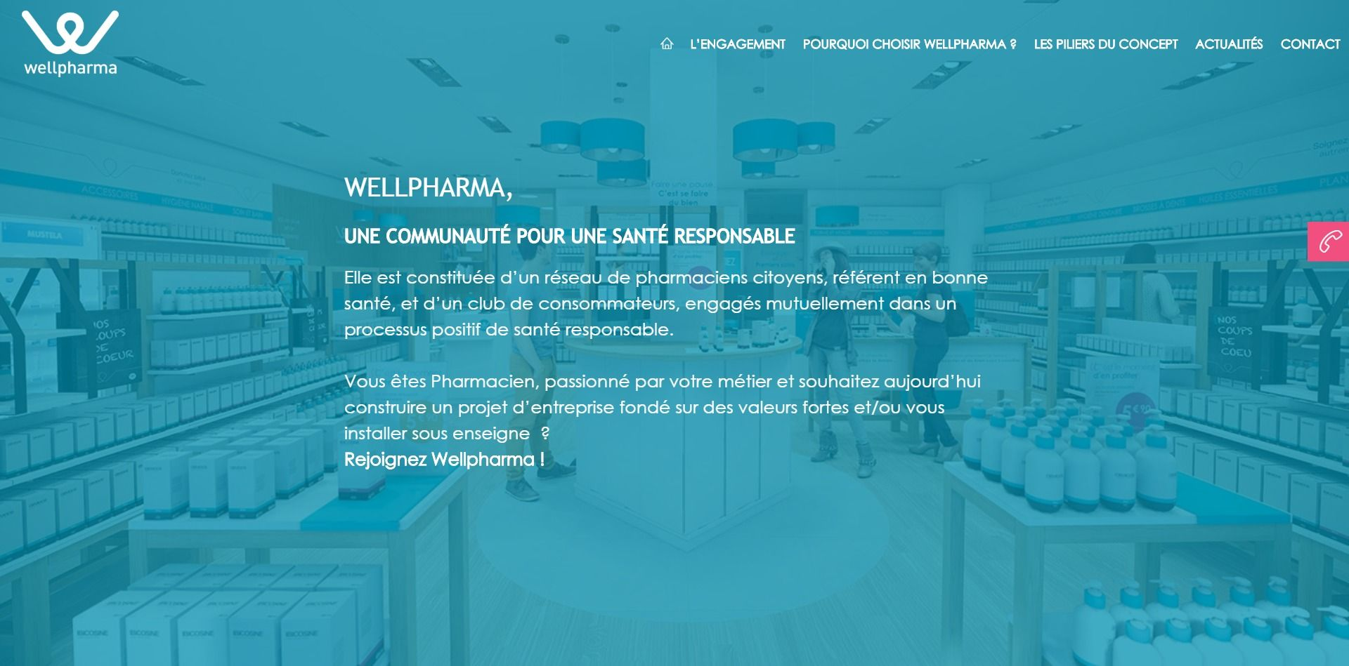 Capture d'écran du site B2B WellPharma