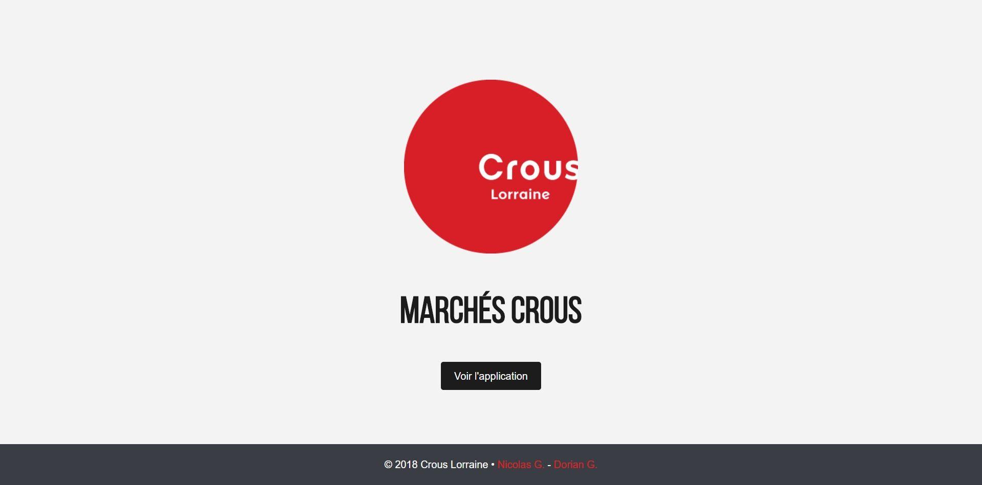 Capture d'écran de l'application des marchés du Crous Lorraine