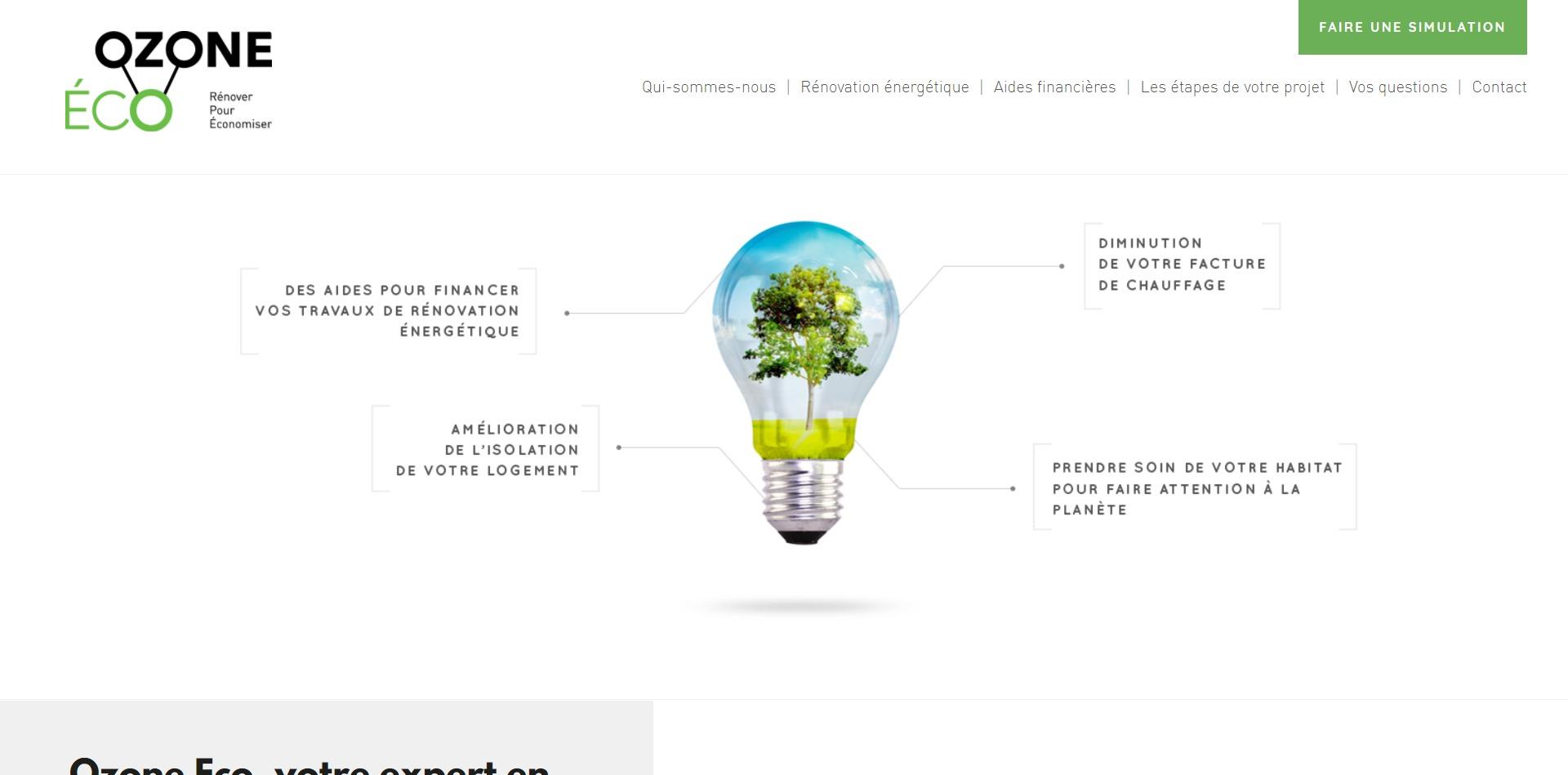 Capture d'écran du site ozone-eco.fr